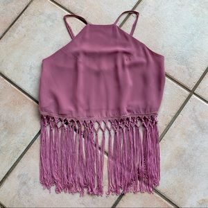 Dusty Rose Sheer Crop Tank With Fringe Sz S
